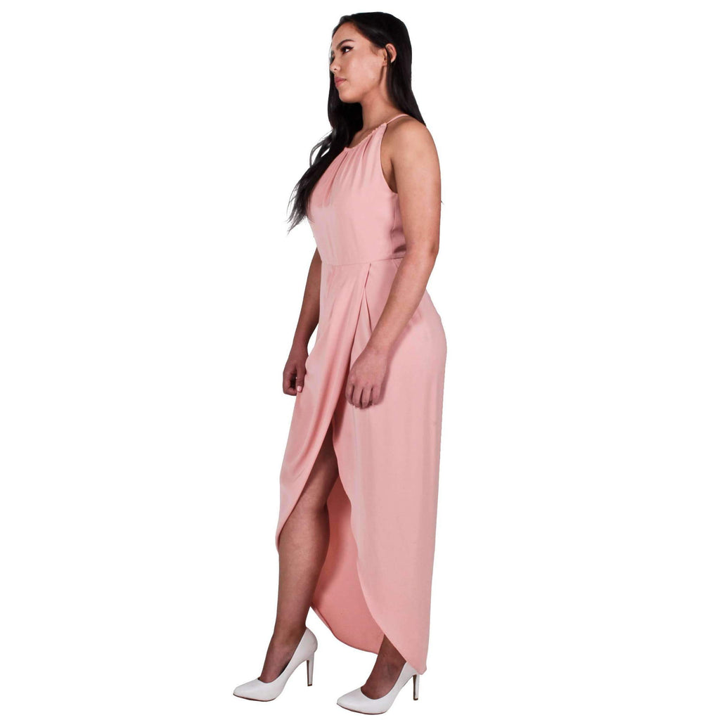 Core High Neck Ruched Dress Dusty Pink