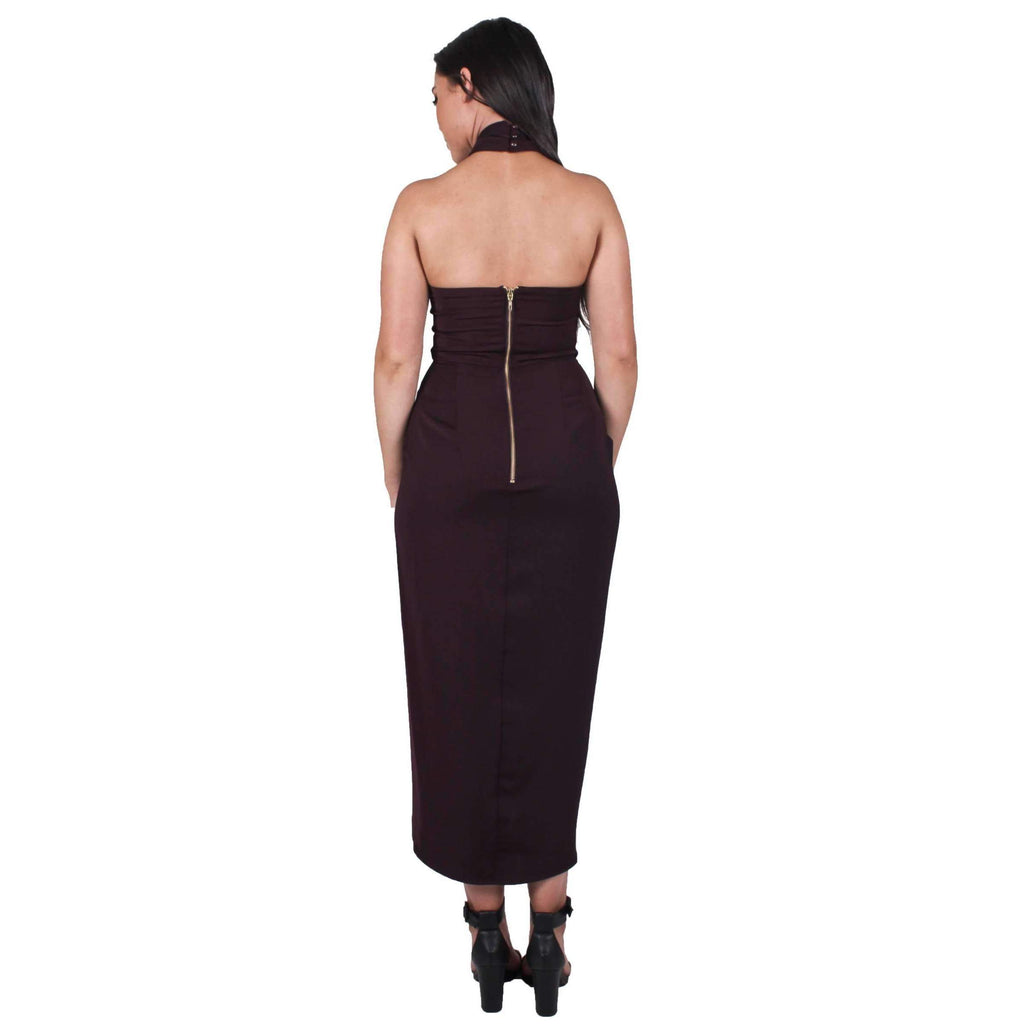 Core Knot Draped Dress Aubergine