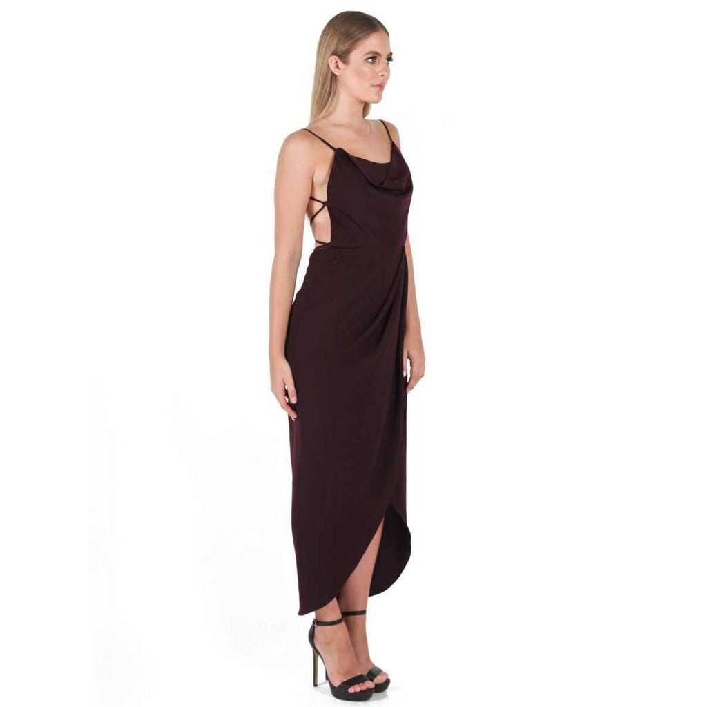 Core Lace Up Cowl Maxi Dress Aubergine