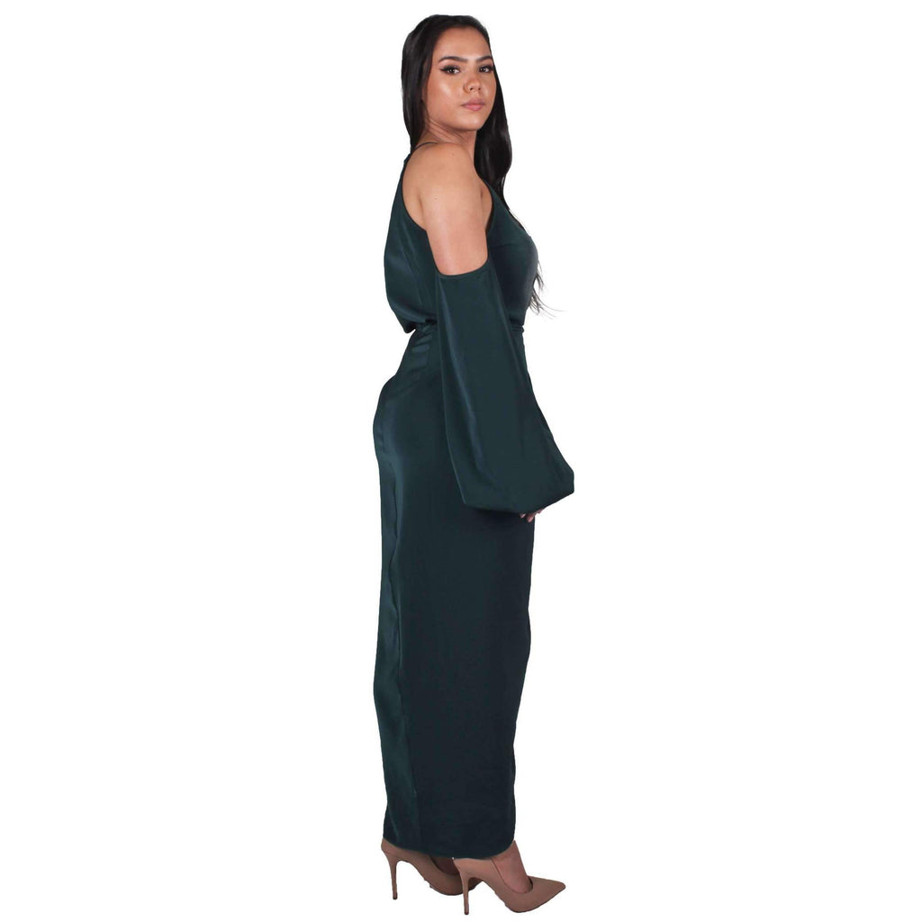 Core Open Shoulder Maxi Dress Seaweed