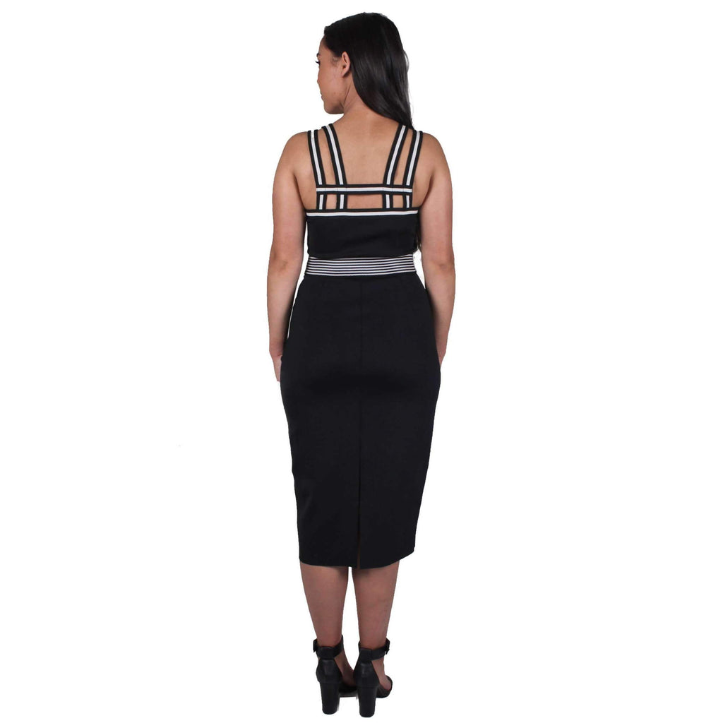 Elastic Lattice Fitted Dress