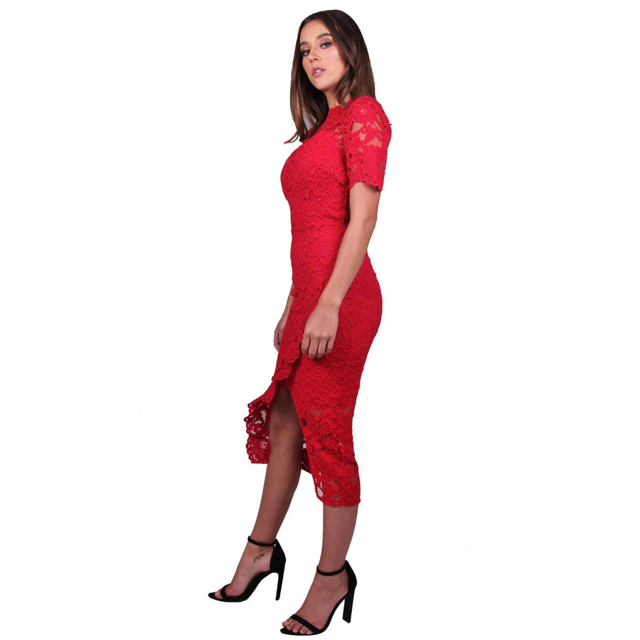 Cornelli Lace Alyssa Dress Red