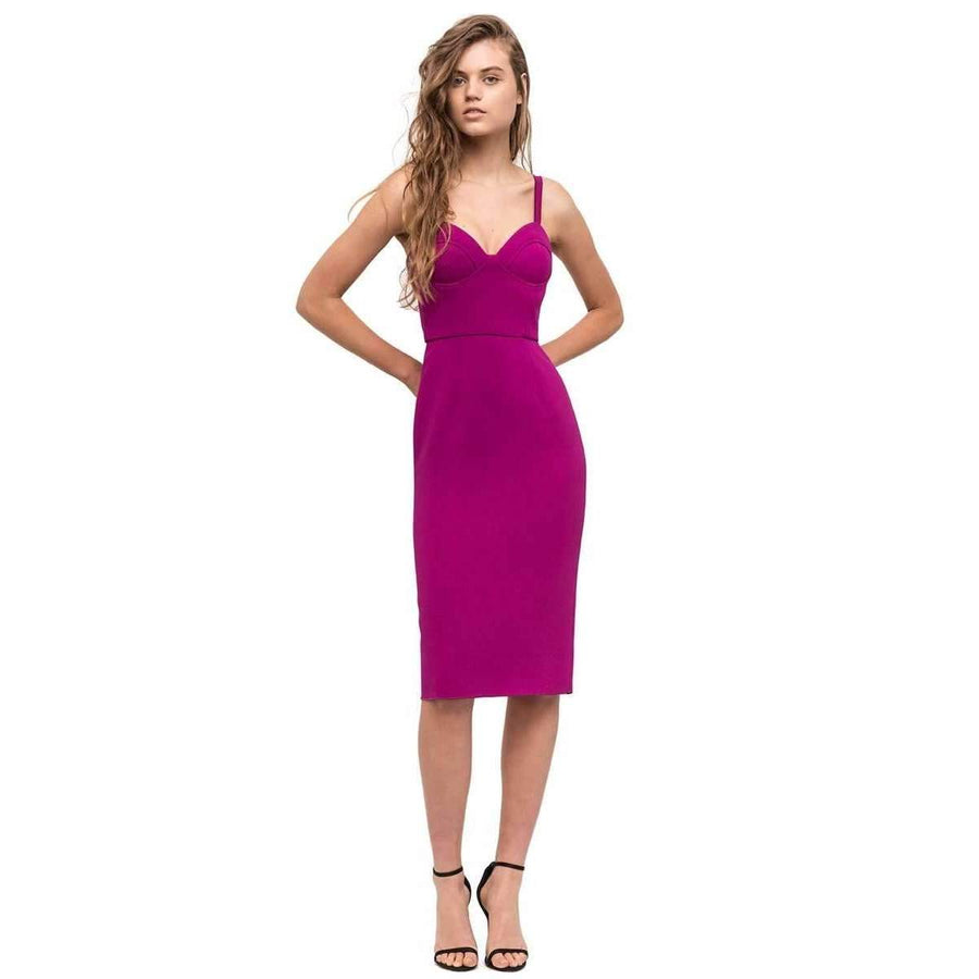 Double Crepe Harper Dress Fuchsia