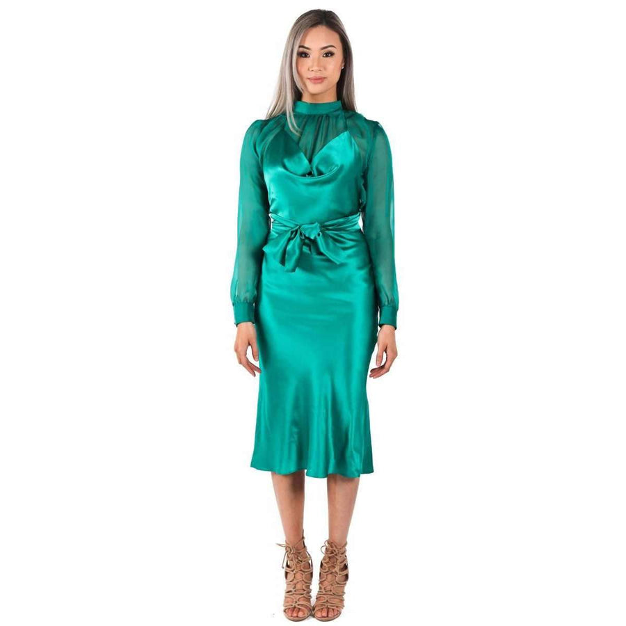 Silk Satin Emily Dress Emerald