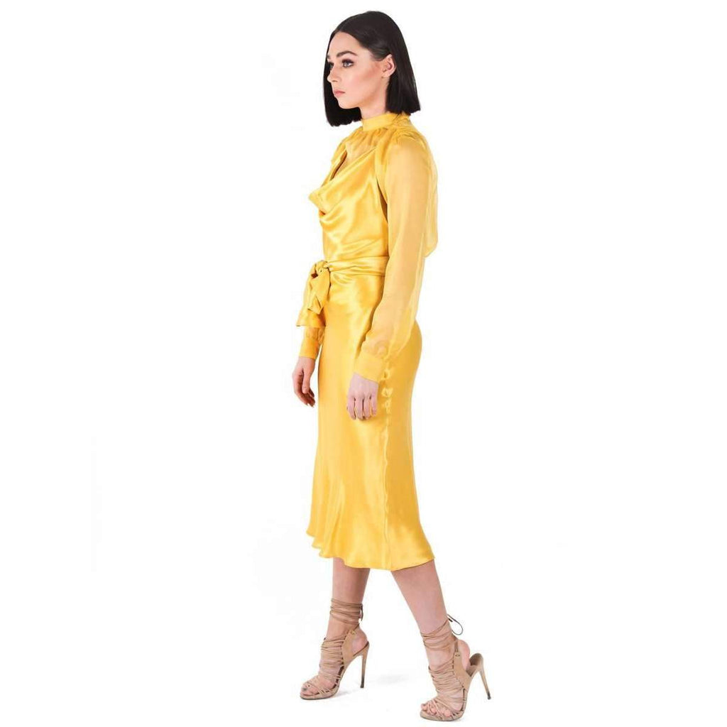 Silk Satin Emily Dress Yellow
