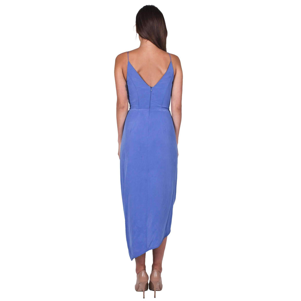 Silk Plunge Drape Dress