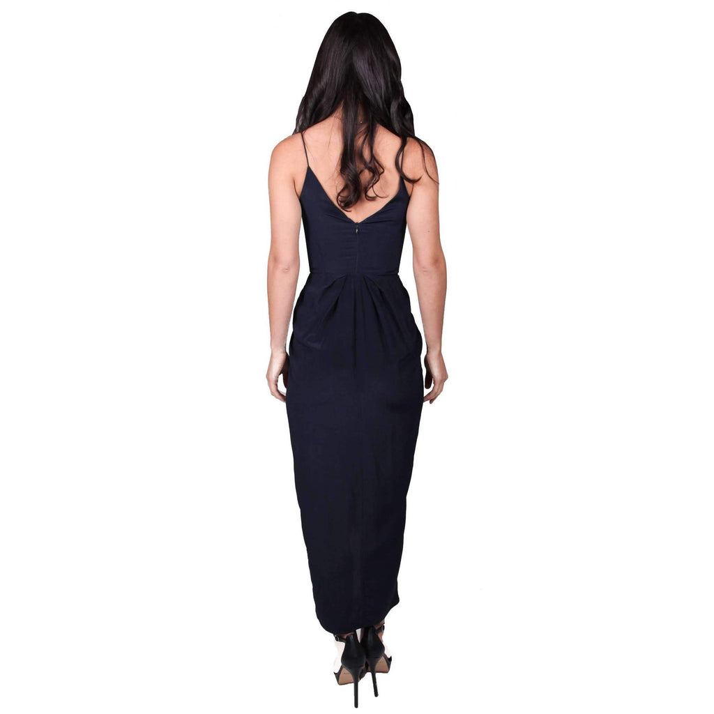 Silk Underwire Long Dress French Navy
