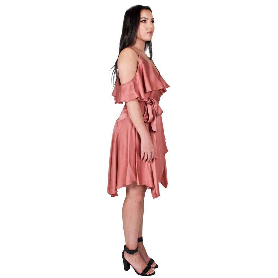 Sueded Asymmetric Wrap Mini Dress Rose