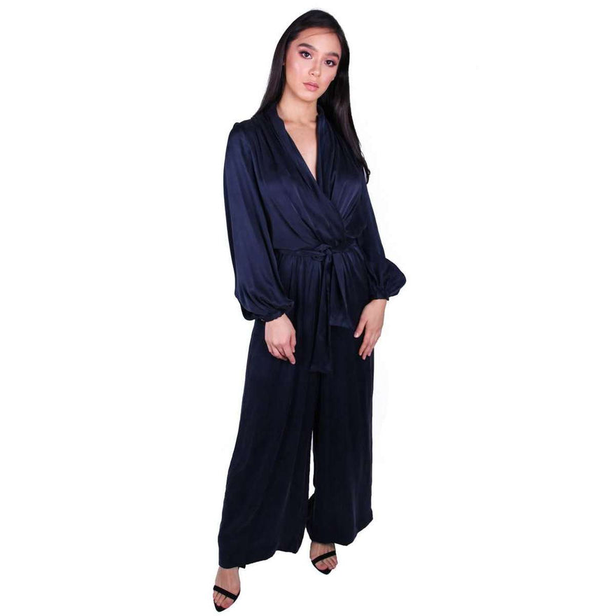 Zimmermann Sueded Silk Wrap Jumpsuit French Navy All