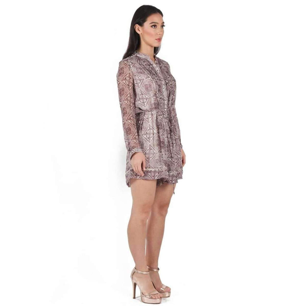 Printed Silk Taupe Playsuit