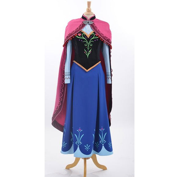 Anna Princess Dress Anna Cosplay Costume Women Adult Halloween Costume