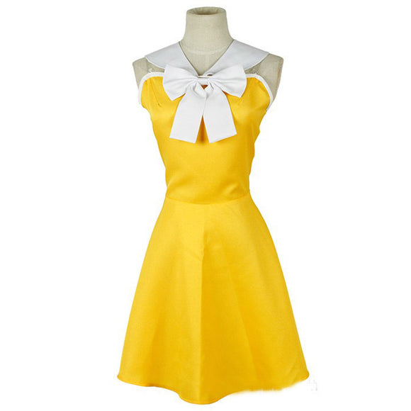 Fairy Tail Levy Mcgarden Cosplay Costume Yellow Girls Dress