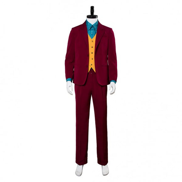 Joker 2019 Cosplay Costume Movie Arthur Fleck Outfit Red Suit Custom Made