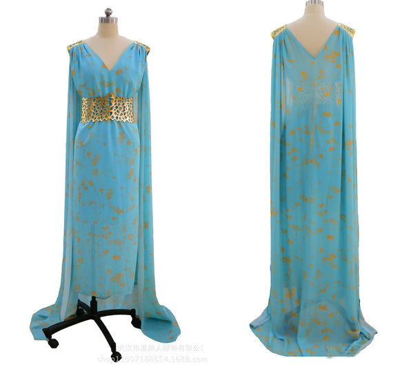 Game of Thrones Daenerys Qarth Dress Khaleesi Cosplay Costume with Belt and Cape