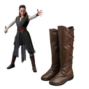 Star Wars 8 The Last Jedi Rey Brown Shoes Cosplay Boots