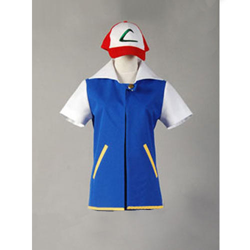 Pokemon Cosplay Ash Ketchum Trainer Costume Shirt Jacket Adult Custom Made