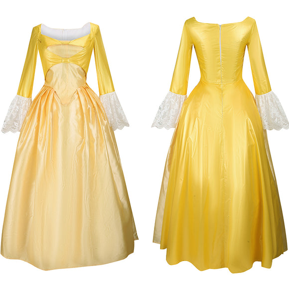 Hamilton Peggy Cosplay Costume Women Girl Yellow Dress