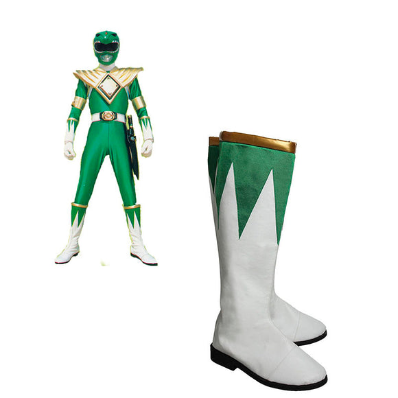 Burai Dragon Ranger Cosplay Boots Zyuranger  Props Shoes White And Green