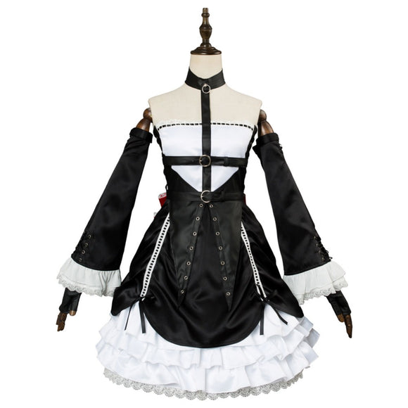 Dead or Alive 6 Marie Rose Cosplay Costume Black Dress
