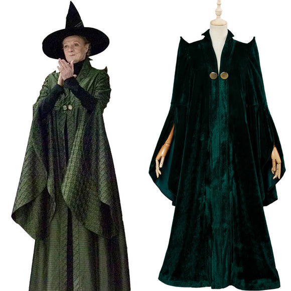 Minerva McGonagall Cosplay Costume Magic Robe Cape Green Cloak