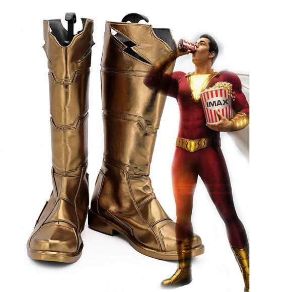 Shazam Cosplay Shoes Billy Batson Captain Marvel Boots Custom Made