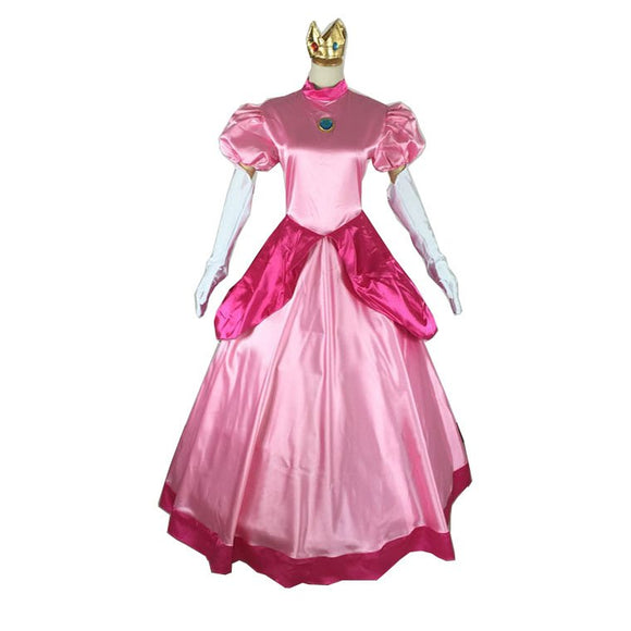 Princess Peach Costume Pink Cosplay Dress Outfit For Adult