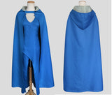 Game of Thrones Daenerys Targaryen Cosplay Costume Blue Dress with Cloak