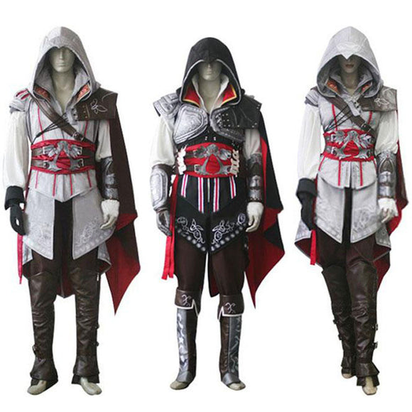 Assassins Creed 2 Costume Ezio Auditore Cosplay Outfit Female/Men/Kids/Adult