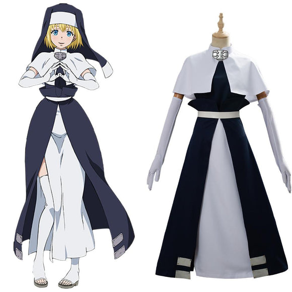 Fire Force Iris Nun Cosplay Costume Fireman Team Dress Battle Suit
