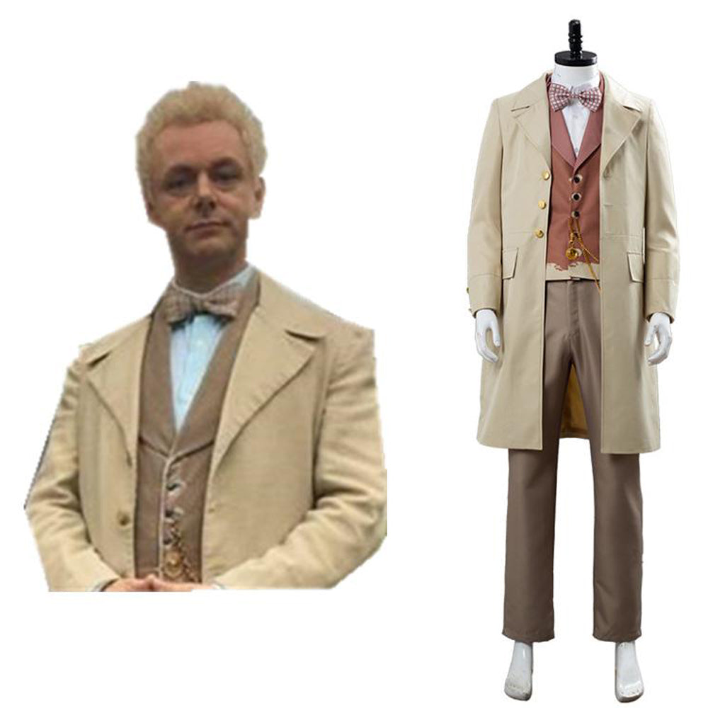 Halloween Looks For Men.Good Omens Angel Aziraphale Cospaly Costume Men Halloween Outfit