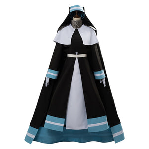 Fire Force Iris Fire Fighting Cosplay Costume Halloween Dress Cloak Robe