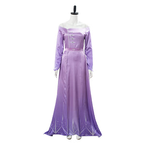 Elsa Cosplay Costume Purple Gown Dress Suit Outfit