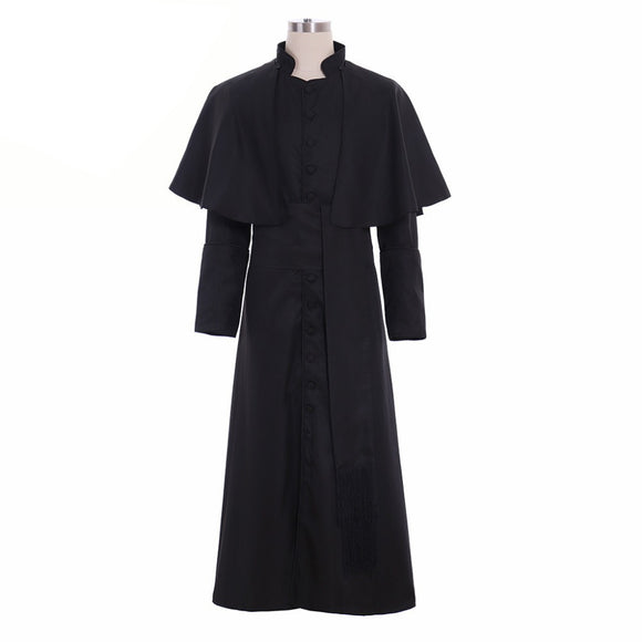 Roman Black Priest Cassock Robe Gown Clergyman Vestments Medieval Wizard Costume