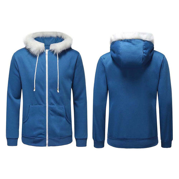 Undertale Sans Blue Coat Cosplay Hoodies Jacket Unisex Sweatshirts Zipper