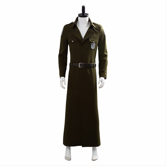 Attack on Titan 3 Cosplay Costume Trench Coat Eren Jaeger Long Coat Halloween Outfit