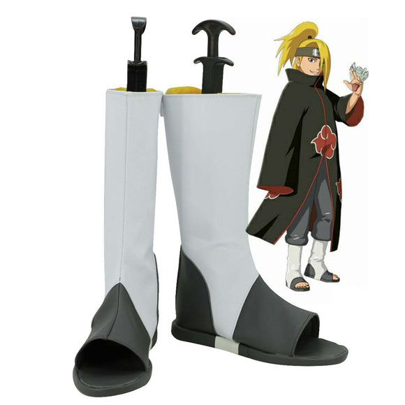 Naruto Akatsuki Deidara Shoes Cosplay White Boots Custom Made