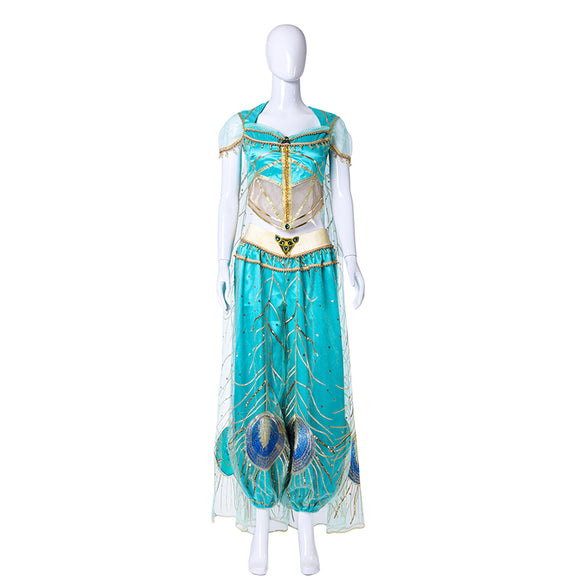 2019 New Aladdin Jasmine Cosplay Costume Halloween Women Dress For Adult Girls