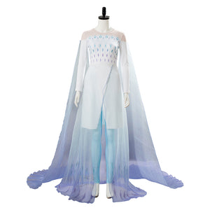 Elsa Snow Queen Cosplay Costume Gown White Dress