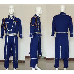 Fullmetal Alchemist Colonel Roy Mustang Military Cosplay Costume Uniform Outfit