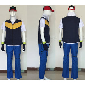 Pokemon Costume Ash Ketchum Cosplay Full Oufit With Hat Custom Any Size
