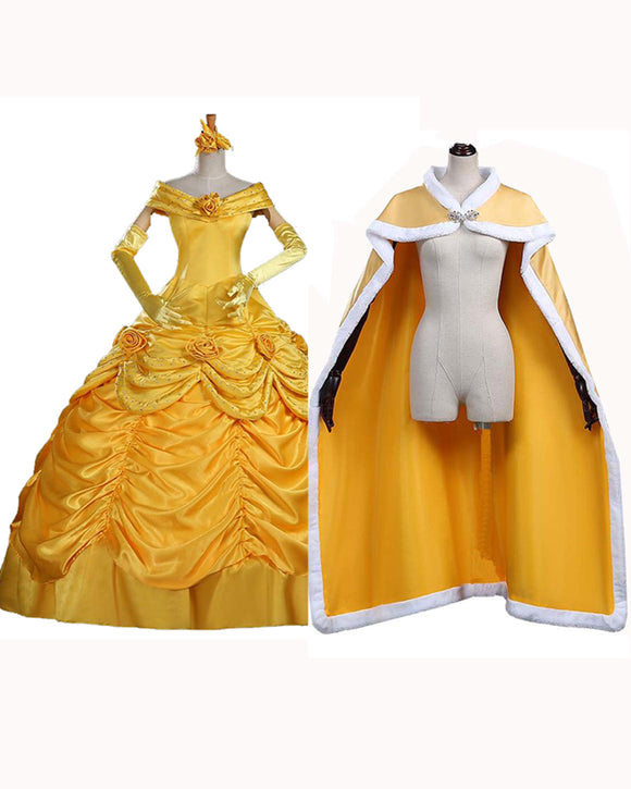 Adult Princess Belle Costume Beauty And The Beast Cosplay Yellow Dress For Women