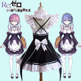 Girls Lady Ram Rem Maid Dress Re Zero Cosplay Costume Halloween Outfit