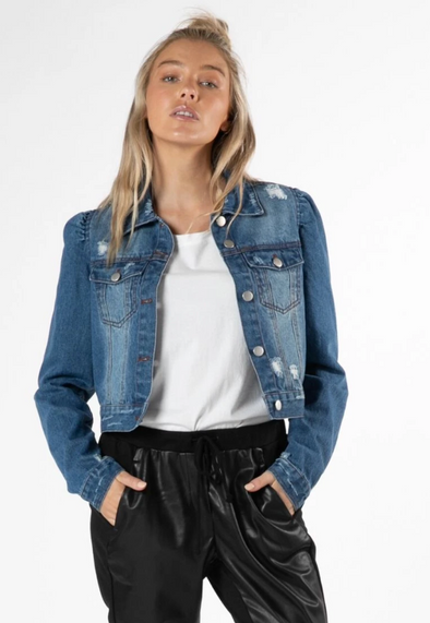Cacey Puff Denim Jacket - Miss Velvet Boutique - Frankston Fashion - Affordable Womenswear - Style