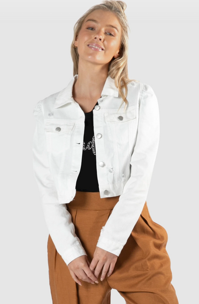Cacey Puff Denim Jacket - White