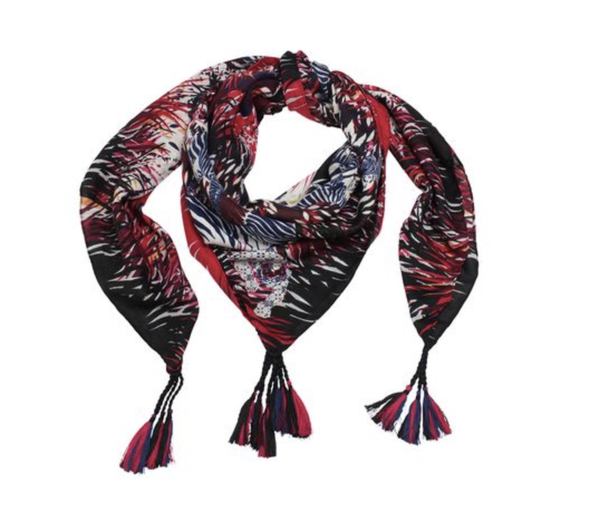 Red & Blue Tassel Scarf