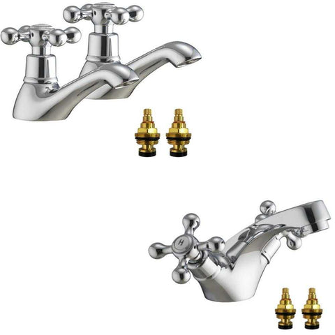 Traditional Victorian Bath Taps and Basin Mixer Tap Set (Viscount 31)