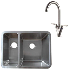 Load image into Gallery viewer, 616 x 461mm Brushed Undermount 1.5 Bowl Stainless Steel Kitchen Sink & Kitchen Mixer Tap (KST125 R)