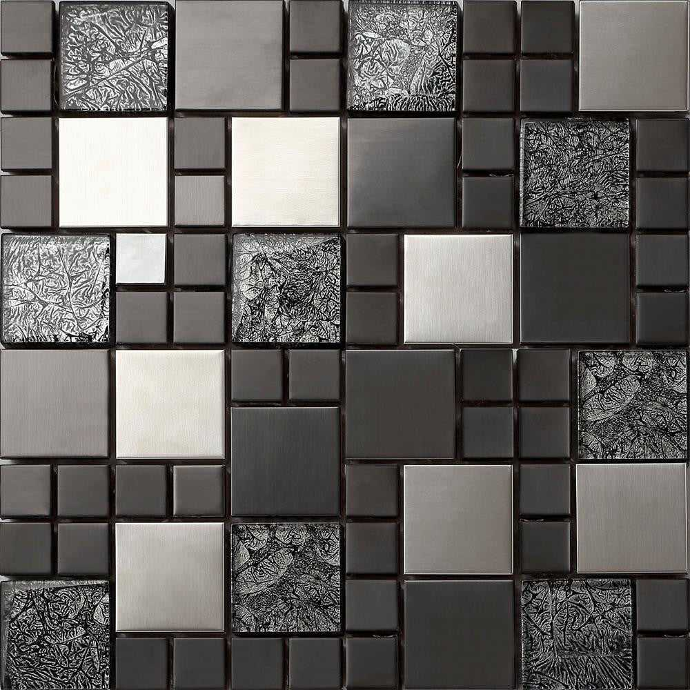 Metallic brushed steel black hongkong glass mosaic tiles for Carrelage metro argent