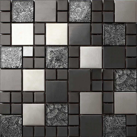 Metallic Random Mix Brushed Steel Black HongKong Glass Mosaic Tiles Sheet (MT0002)