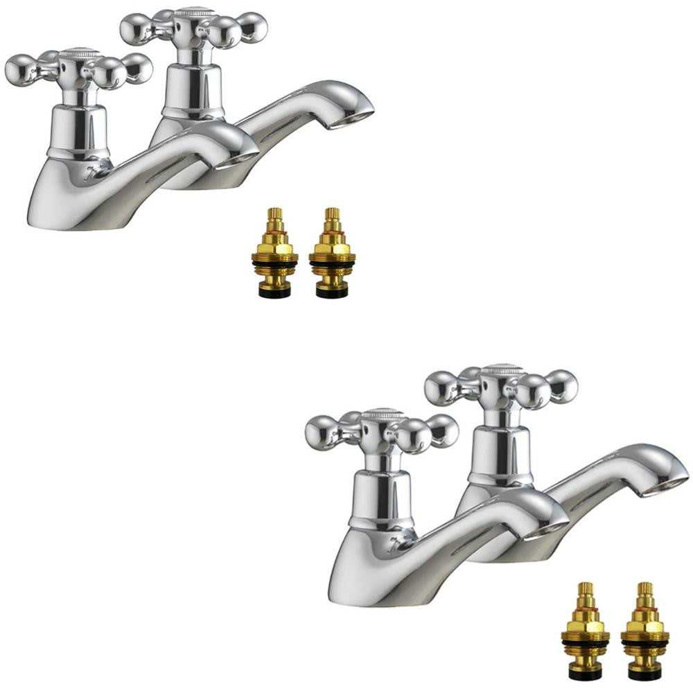 Traditional Victorian Bath and Basin Tap Set (Viscount 32)